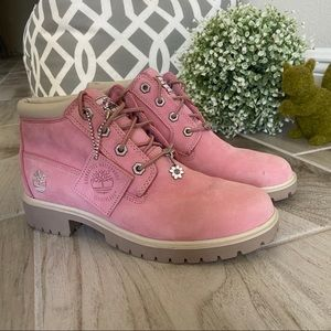 Pink Timberland Nellie waterproof leather boots
